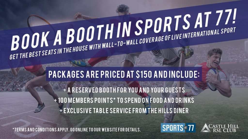 Book a Booth in Sports at 77