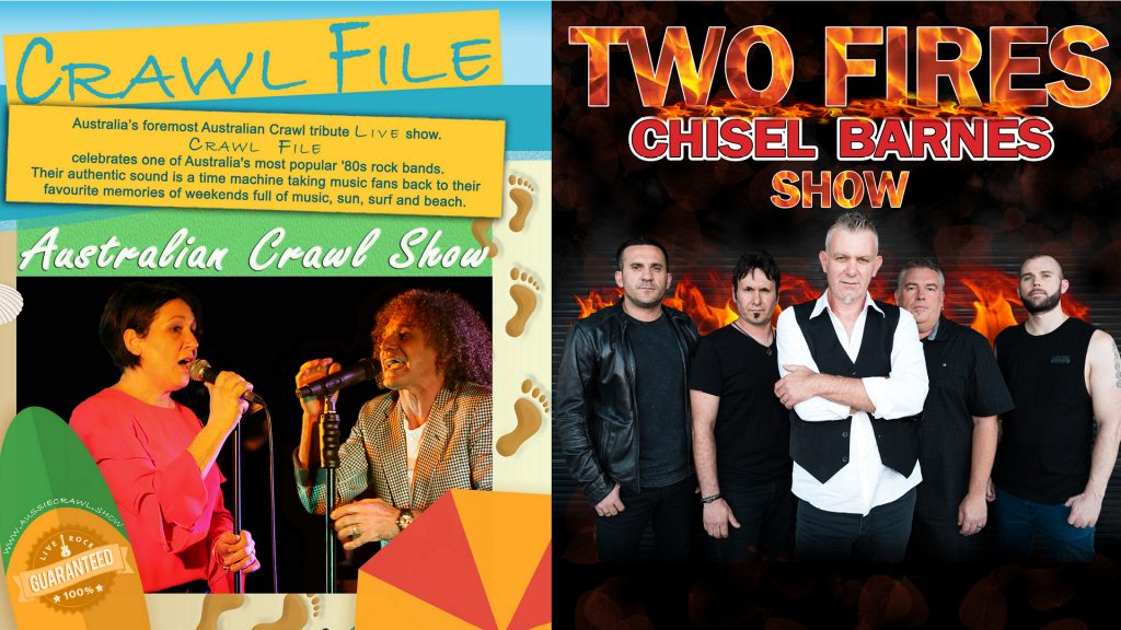 """Two Fires"" Cold Chisel & Jimmy Barnes Show PLUS ""Crawl File"" Australian Crawl & James Reyne Show"