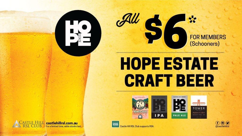 $6 Hope Estate Craft Beer